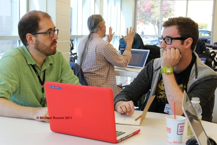 Andrew and Ronin during a design session