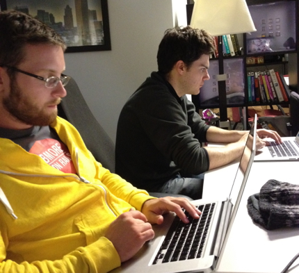 Chris and Sam hacking on something awesome